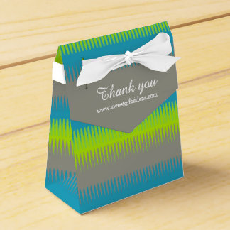 Dog tooth lines teal grey green thank you gift box party favor boxes