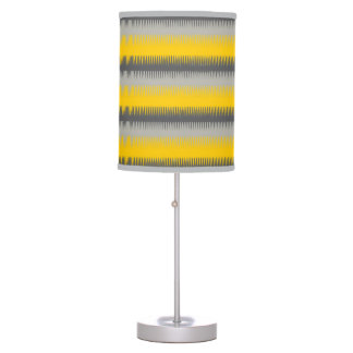 Dog tooth lines yellow grey silver graphic lamp