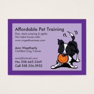 Dog Trainer Pet Training Border Collie Purple Business Card