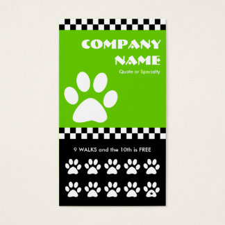 dog walker checkers punchcard business card