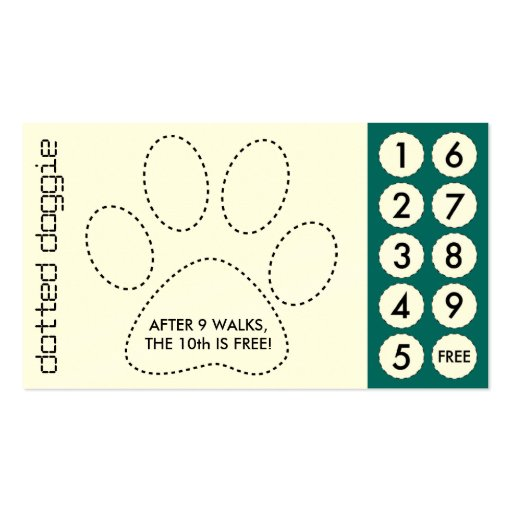 Dog Walker Cut Out Punch Cards Business Card Zazzle