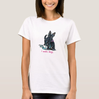 Dog Walker Cute Scottie Gray n Pink T-Shirt