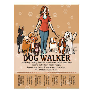 Dog Walker. Dog Walking. Advertising Template Flyer