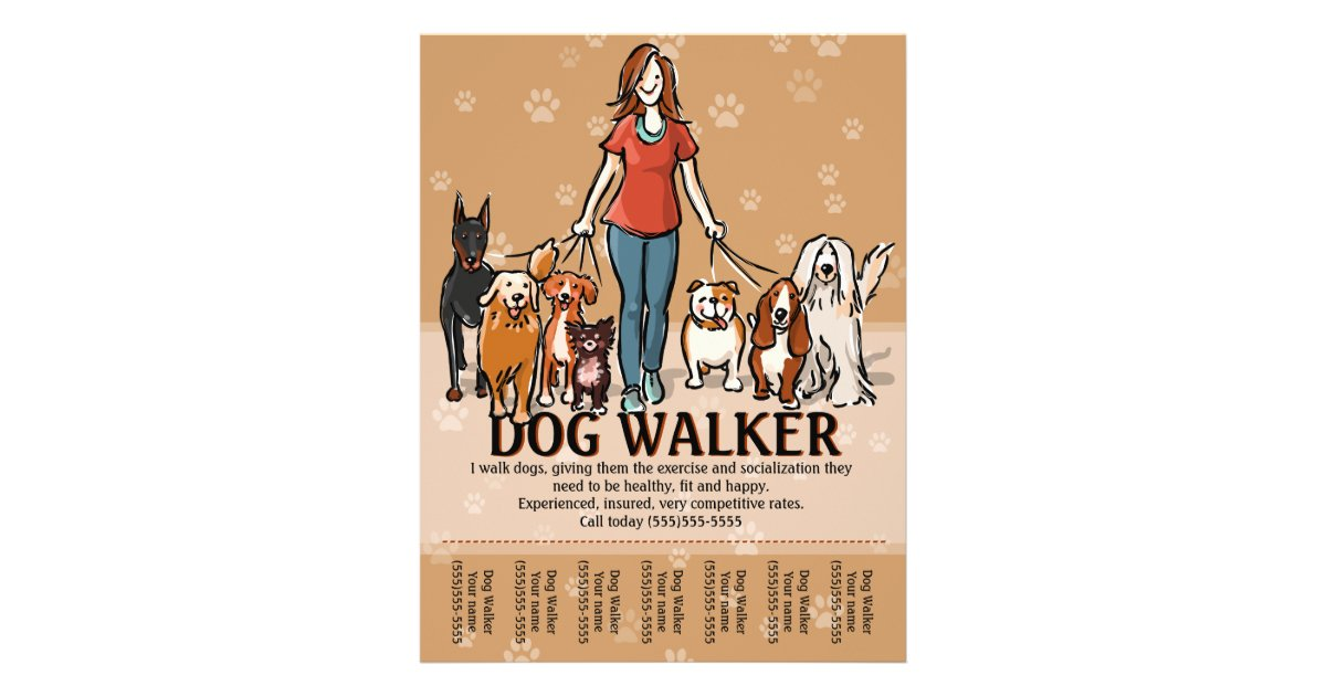 Dog walker dog walking advertising template flyer design for Dog walking flyer template free