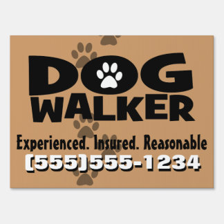 Dog walker. Dog Walking. Customizable Advertising Sign
