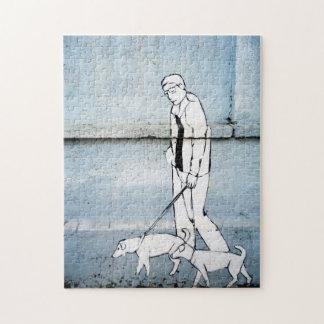 dog walker graffiti on branimirova street, croatia puzzle