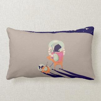 Dog Walker on the moon vintage cartoon Lumbar Pillow