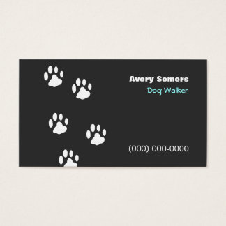 Dog Walker Paws Black  Business Card