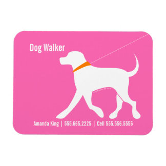 Dog Walker Pet Business Lab Modern Pink Magnet