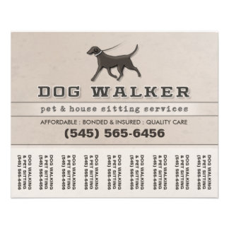 Dog Walker & Pet Sitting Tear Off Flyer 5.6 x 4.5