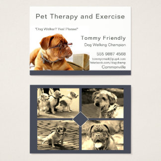 Dog Walker Pet Therapy Photo Template Business Card
