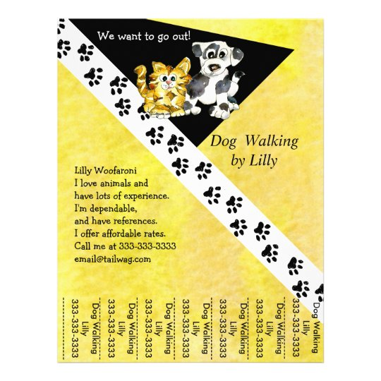 dog walker pet walking tear sheet custom flyer