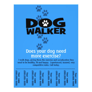 Dog Walker Promotional tear sheet flyer template_B