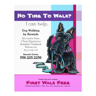 Dog Walker Scottie Plaid Discount Coupon Ad Full Color Flyer