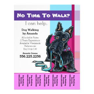 Dog Walker Scottie Plaid Personalized Tear Sheet Full Colour Flyer