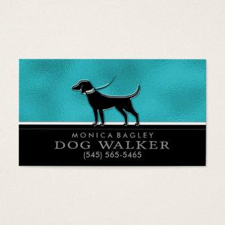 Dog Walker Teal Blue & Black Business Card