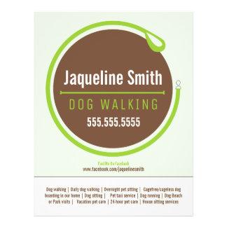 Dog Walker Walking Leash Loop Green Promotional Flyer Design