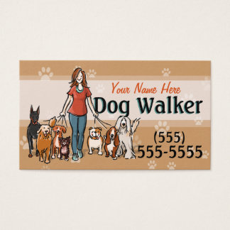 Dog Walking Dog Walker Training Female Promo Card