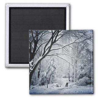 Dog Walking In A Winter Wonderland Square Magnet