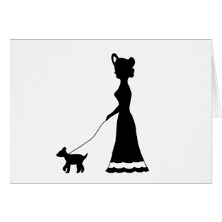 Dog Walking silhouette cards