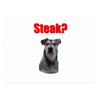 Dog wants steak postcard