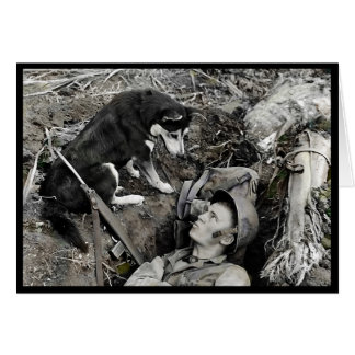 Dog Watching Soldier in His Foxhole Card