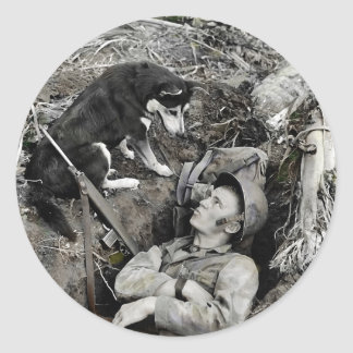 Dog Watching Soldier in His Foxhole Classic Round Sticker
