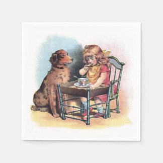 Dog Watching Toddler Eat Paper Napkins
