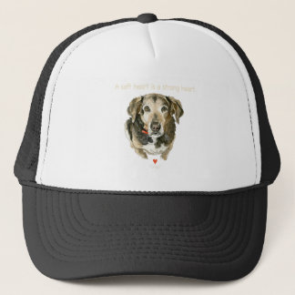 Dog watercolor soft heart is a strong heart trucker hat