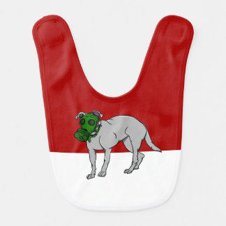 Dog Wearing A Canine Gas Mask Baby Bibs