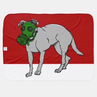 Dog Wearing A Canine Gas Mask Stroller Blankets