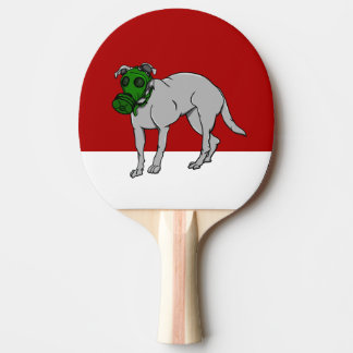 Dog Wearing A Gas Mask Ping-Pong Paddle