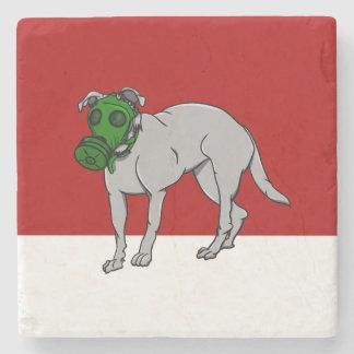 Dog Wearing A Gas Mask Stone Coaster