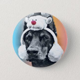 Dog wearing a  Reindeer Hat 2 Inch Round Button