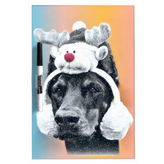 Dog wearing a  Reindeer Hat Dry Erase White Board