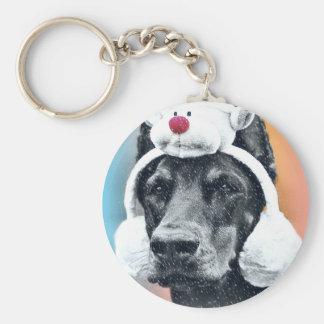 Dog wearing a  Reindeer Hat Keychain