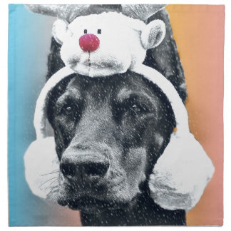 Dog wearing a  Reindeer Hat Napkin
