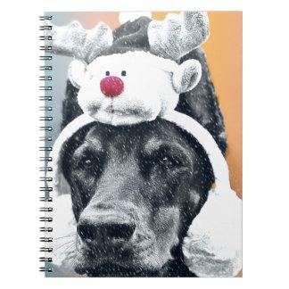 Dog wearing a  Reindeer Hat Notebook