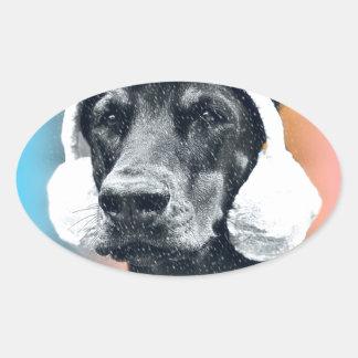 Dog wearing a  Reindeer Hat Oval Sticker