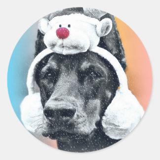 Dog wearing a  Reindeer Hat Round Sticker