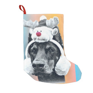 Dog wearing a Reindeer Hat Small Christmas Stocking