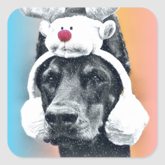 Dog wearing a  Reindeer Hat Square Sticker