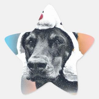 Dog wearing a  Reindeer Hat Star Sticker