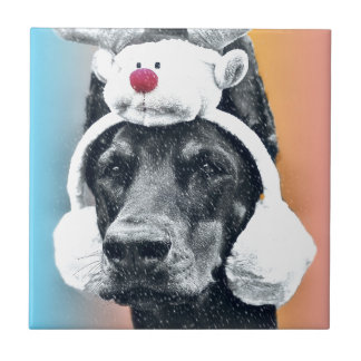 Dog wearing a  Reindeer Hat Tile