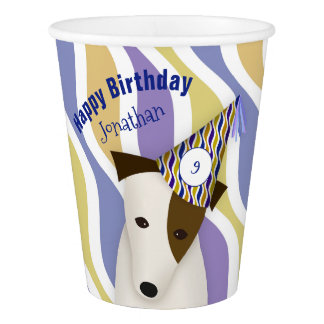 dog wearing funny party hat boy's birthday paper cup
