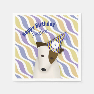dog wearing funny party hat boy's birthday paper napkins