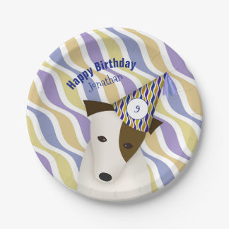 dog wearing party hat boy's birthday 7 inch paper plate