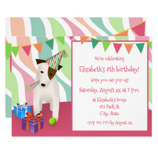 dog wearing party hat pink girl's birthday party card