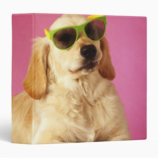 Dog wearing sunglasses 2 3 ring binder