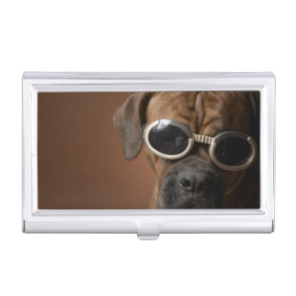 Dog wearing sunglasses 3 business card case